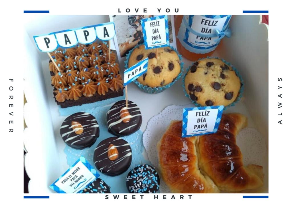 Bandejas sorpresa personalizadas para papa, medialuna, jugo, alfajores, dulces